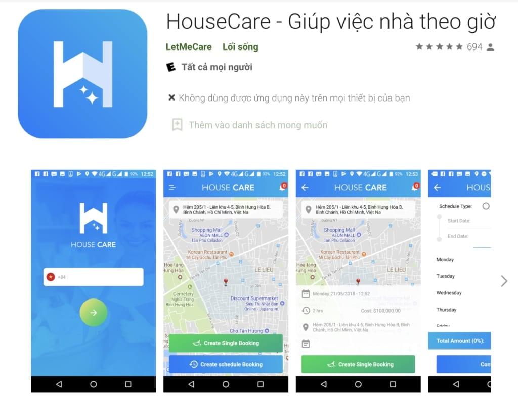 HouseCare - Giúp việc nhà theo giờ