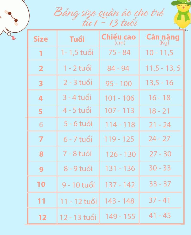 bảng size quần áo trẻ em Việt Nam theo số
