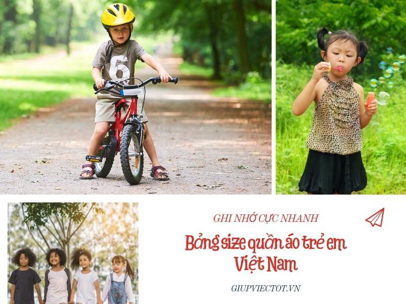 bảng size quần áo trẻ em Việt Nam
