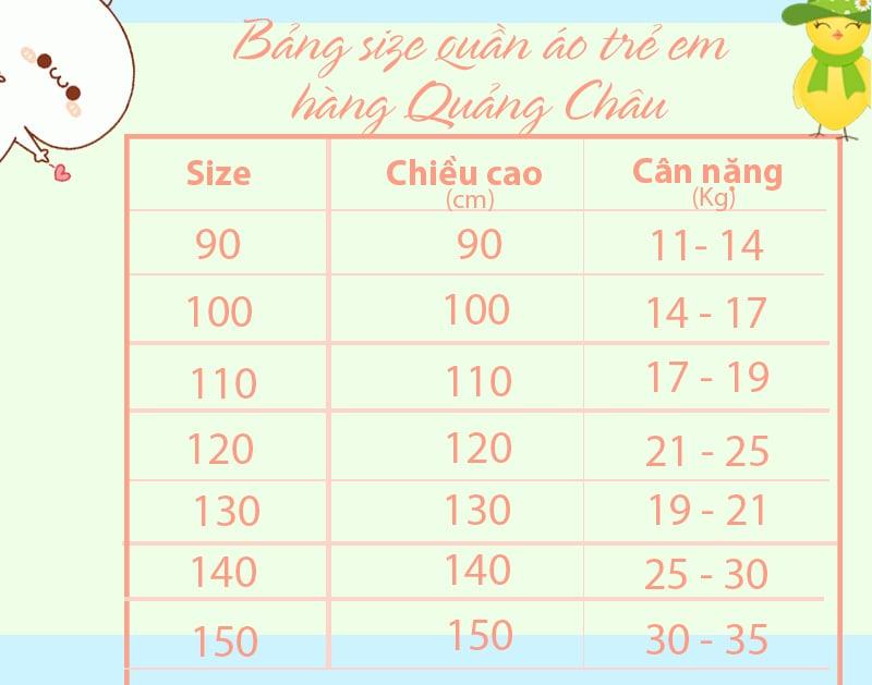 bảng size quần áo trẻ em hàng Quảng Châu
