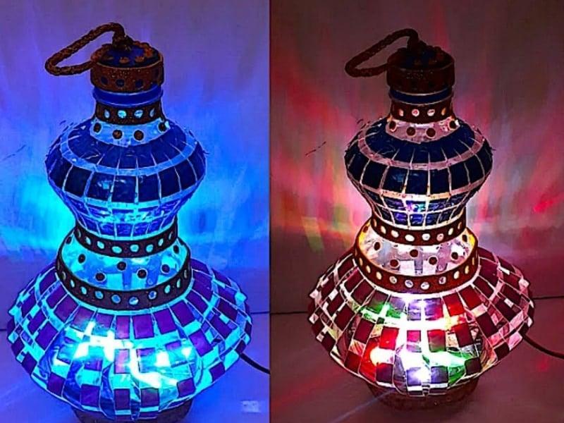 cách làm đèn lồng từ chai nhựa