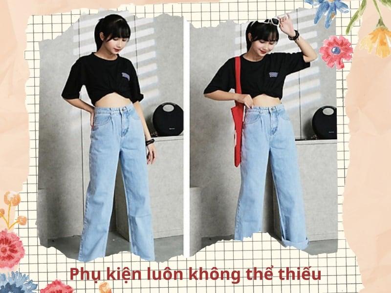 cách phối quần jean ống rộng với áo croptop