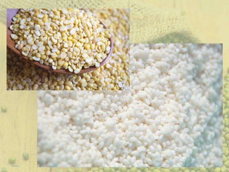 gạo nếp và đỗ xanh