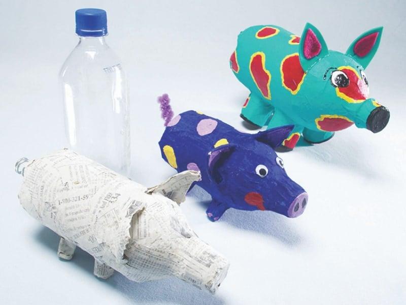 làm con heo từ vỏ chai nhựa đơn giản