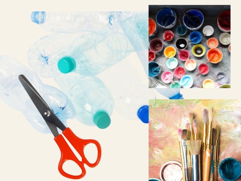 những vật dụng để làm con vật bằng chai nhựa