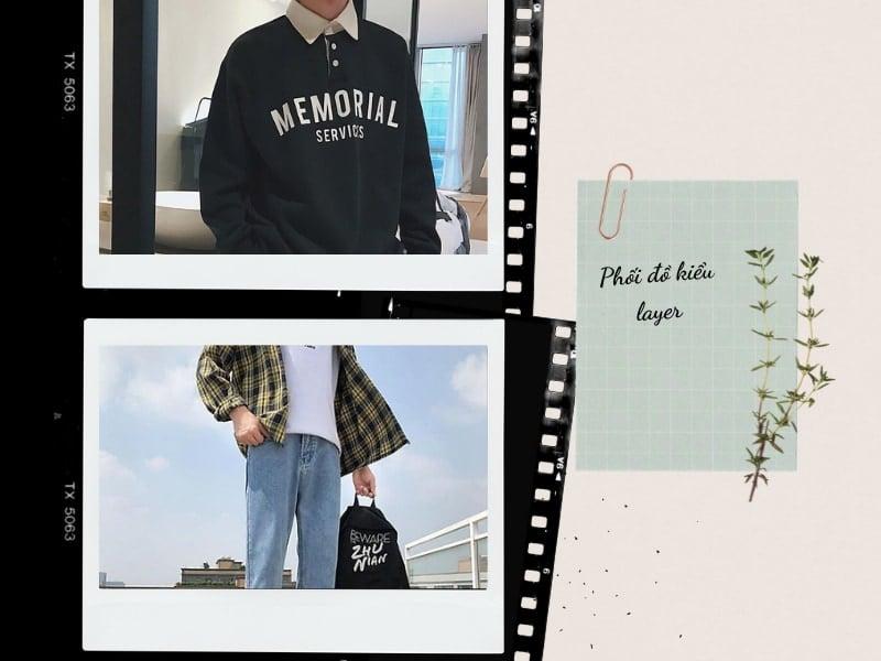 phối quần jean với kiểu áo layer