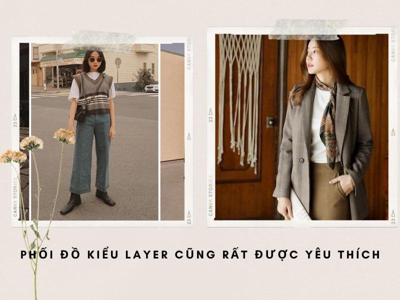 quần jean ống rộng mặc với áo layer nữ