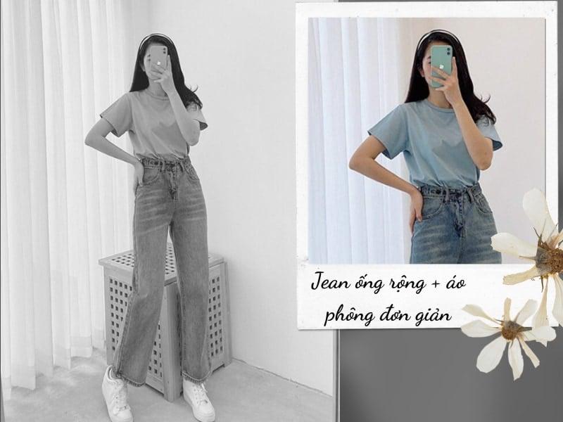quần jean ống rộng mặc với áo phông