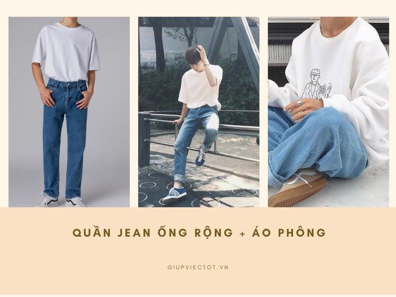 quần jean ống rộng nam mặc với áo phông