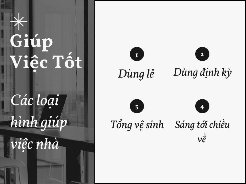 Các loại hình giúp việc nhà của GiupViecTot.vn
