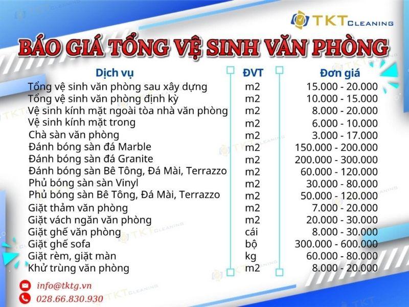 Báo giá dịch vụ vệ sinh văn phòng của TKT